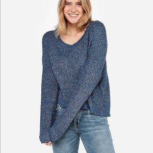 Express Blue Cable Knit Split Back Sweater